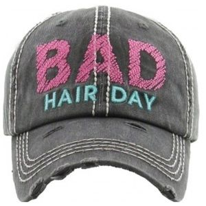 "Accessories - ""Bad Hair Day"" Distressed Adjustable Cap"